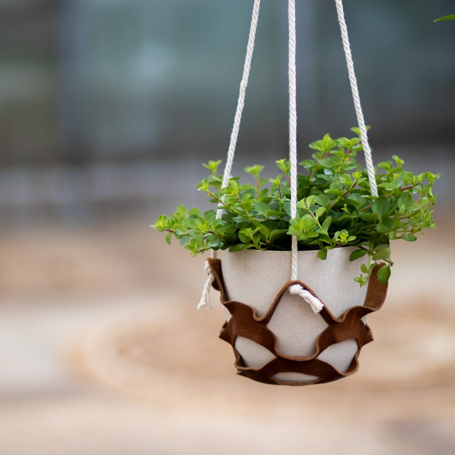 leren plantenhanger DIY